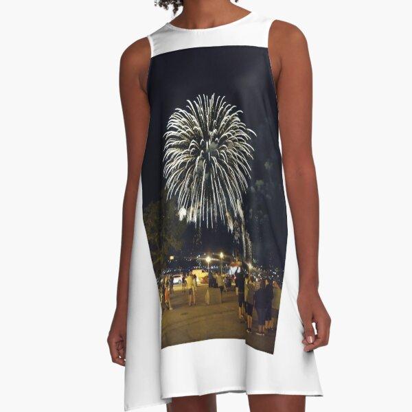 Quebec City, #QuebecCity, #Quebec, #City, #Canada, #buildings, #streets, #places, #views, #nature, #people, #tourists, #pedestrians, #architecture, #flowers A-Line Dress