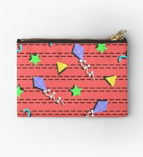 kites, stars, triangles and curvy lines Memphis style repeat pattern Studio Pouch