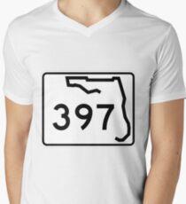Florida State Road SR 397   United States Highway Shield Sign V-Neck T-Shirt