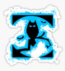 Bat halloween lightblue and black silhouette Sticker
