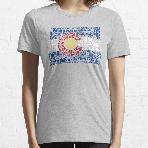 Colorado Fourteeners State Flag 14ers Essential T-Shirt