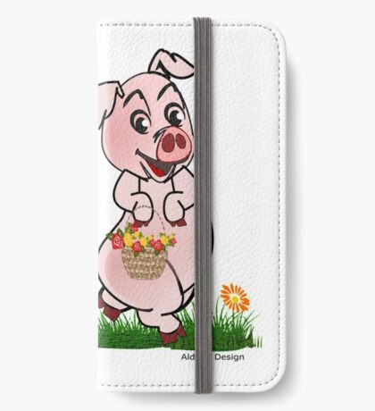 Piggy with basket of flowers iPhone Wallet