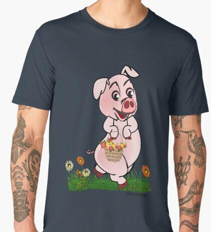 Piggy with basket of flowers Men's Premium T-Shirt