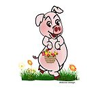 Piggy with basket of flowers by aldona