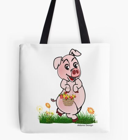 Piggy with basket of flowers Tote Bag