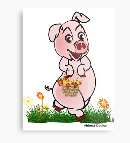 Piggy with basket of flowers Metal Print