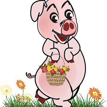 Piggy with basket of flowers by aldona
