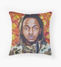 Kendrick Lamar Floral Portrait Painting Throw Pillow
