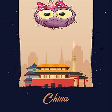 Cute Purple Owl in China / Chinese Scenery / Time to Travel With an Owl by ProjectX23