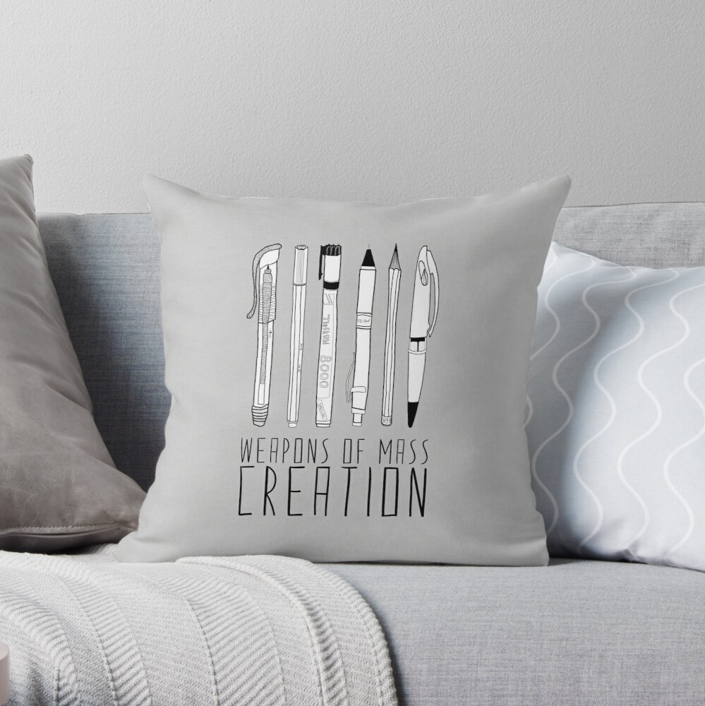 Weapons Of Mass Creation (on grey) Throw Pillow