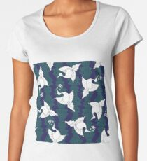 Seamless pattern of Art Deco inspired birds and flowers. Premium Scoop T-Shirt