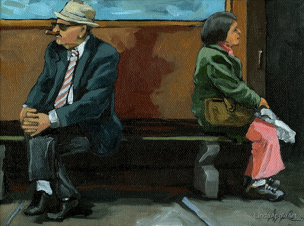 White Socks - portrait by LindaAppleArt