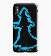 Evil halloween lightblue and black silhouette iPhone Case