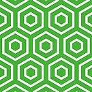 Geometric Pattern: Hexagon Ring: Green by * Red Wolf