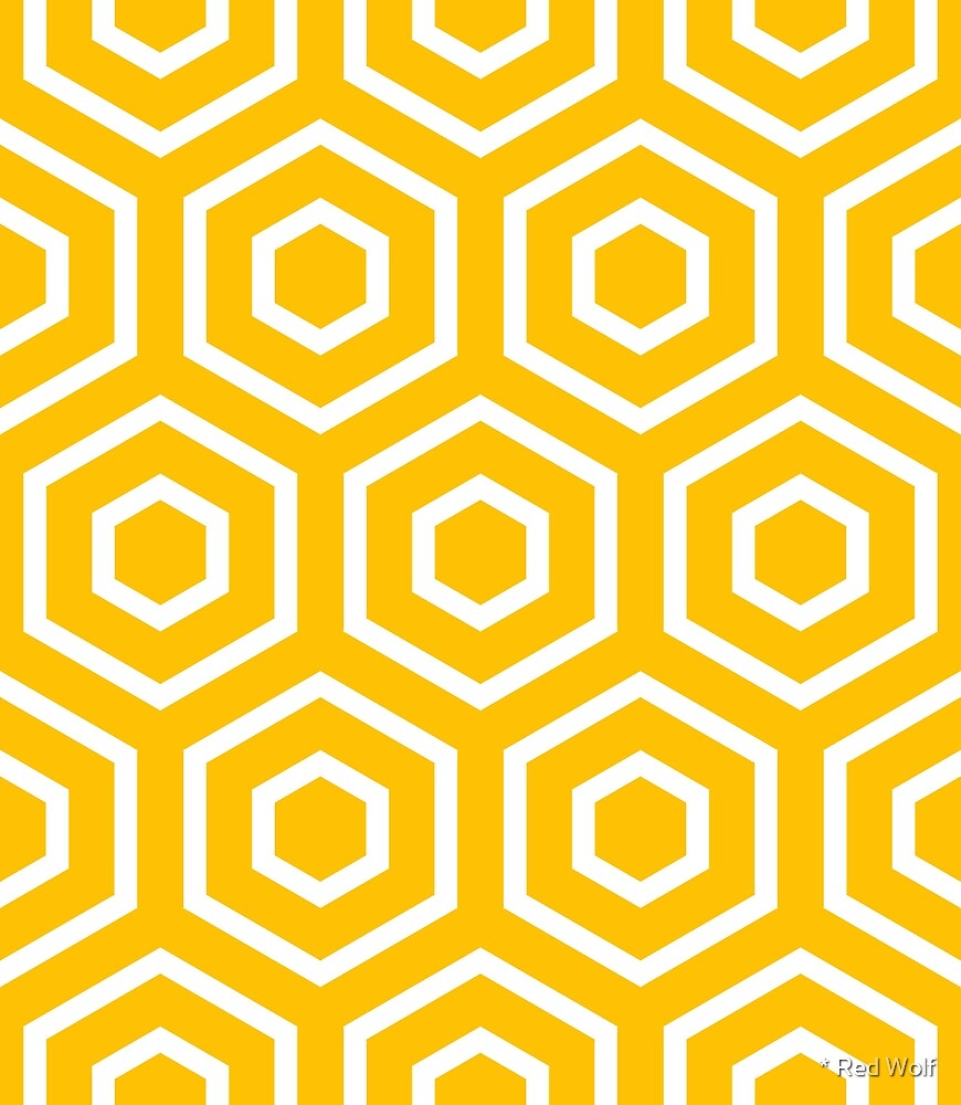 Geometric Pattern: Hexagon Ring: Yellow by * Red Wolf