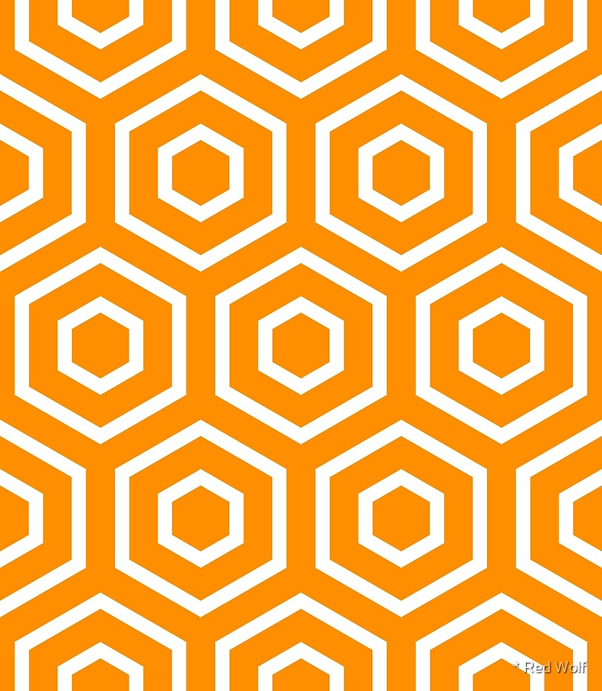Geometric Pattern: Hexagon Ring: Orange by * Red Wolf