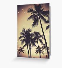 Retro Sepia Palm Trees Greeting Card