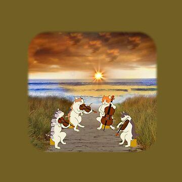 Cat quartet at the beach by DAscroft
