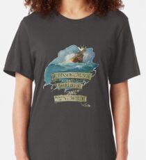Robinson Crusoe Daniel Defoe Illustration Slim Fit T-Shirt