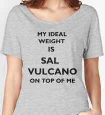 My Ideal Weight Is Sal Vulcano On Top of Me, Impractical Jokers, White Text Relaxed Fit T-Shirt