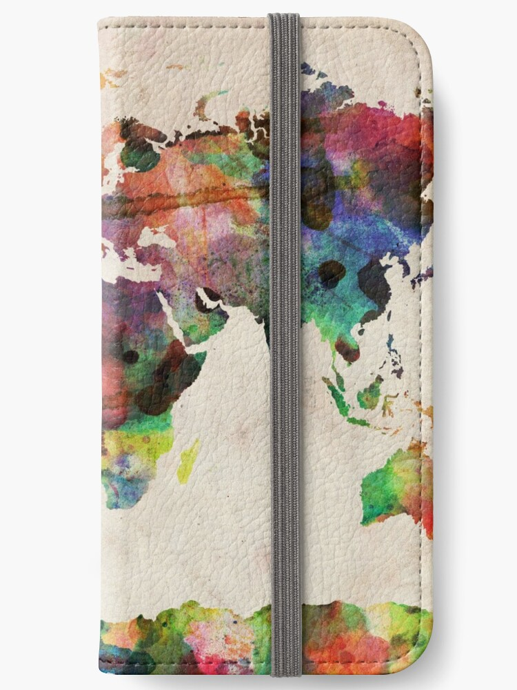 Urban Watercolor World Map.World Map Urban Watercolor Iphone Wallets By Michael Tompsett