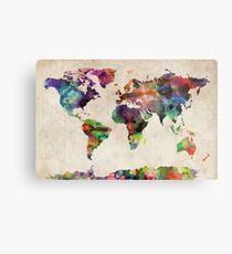 World Map Urban Watercolor Metal Print