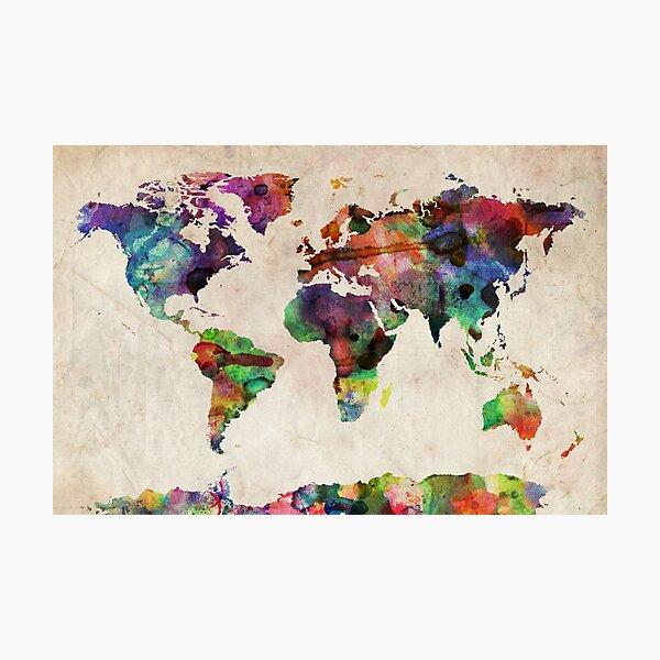 World Map Urban Watercolor Photographic Print
