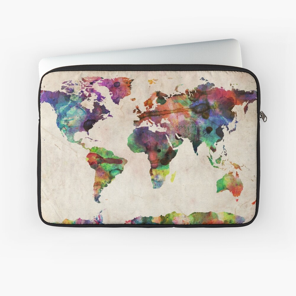 World Map Urban Watercolor Laptop Sleeve Front