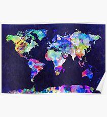 Weltkarte Urban Aquarell Poster