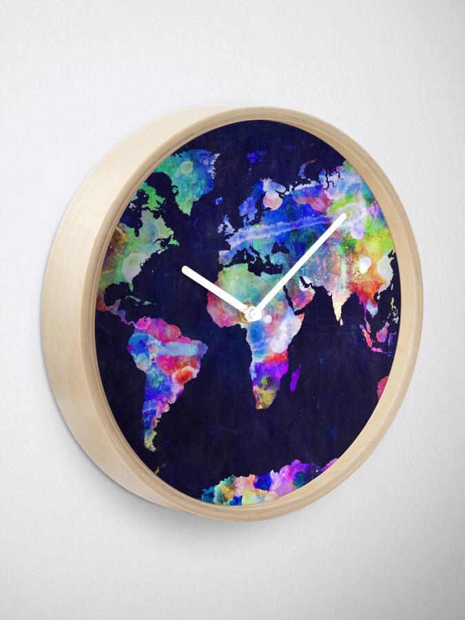 Alternate view of World Map Urban Watercolor Clock