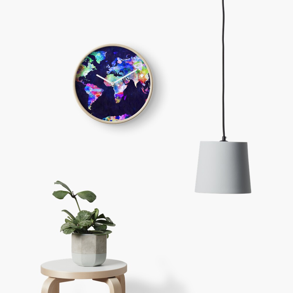 World Map Urban Watercolor Clock