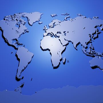 World Map in Blue by ArtPrints