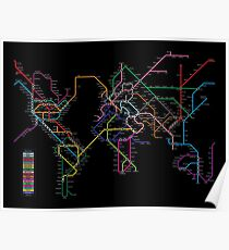 Póster Mapa mundial del metro