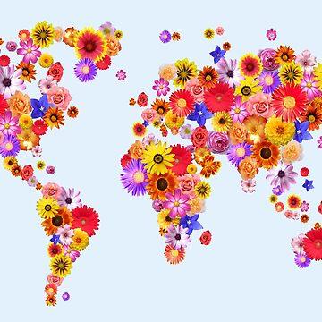 Flower World Map Canvas Art Print by ArtPrints
