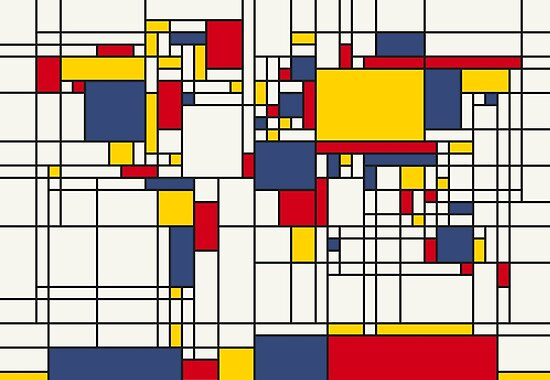Weltkarte Abstract Mondrian Stil von Michael Tompsett