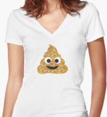 Funny Hilarious Glitter Gold Poop Emoji Texting Vibes  Women's Fitted V-Neck T-Shirt