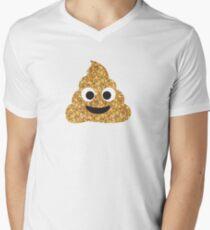 Funny Hilarious Glitter Gold Poop Emoji Texting Vibes  V-Neck T-Shirt