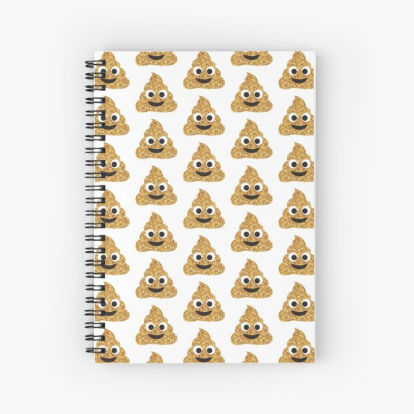 Funny Hilarious Glitter Gold Poop Emoji Texting Vibes  Spiral Notebook