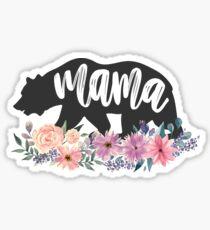 Pegatina Mama Bear flores florales de acuarela