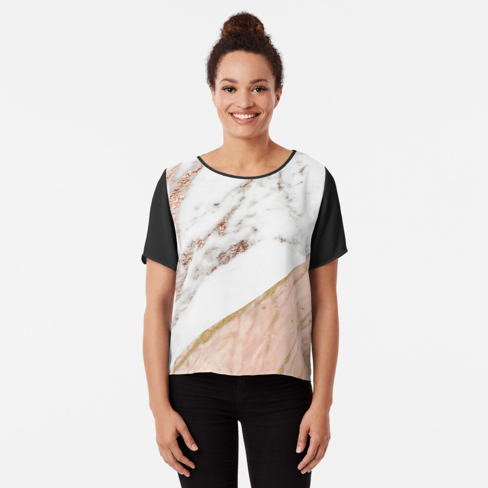 Rose gold marble blended Chiffon Top
