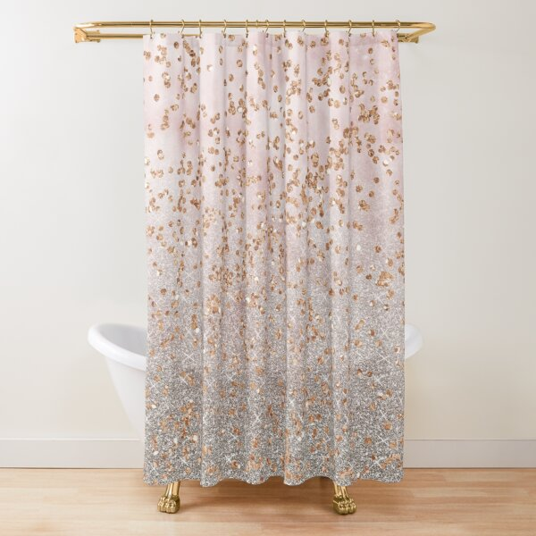 Mixed rose gold glitter gradients Shower Curtain