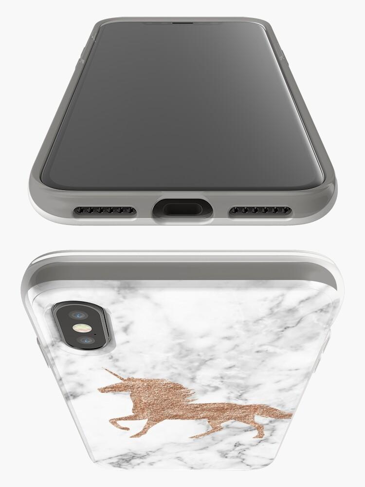 Vista alternativa de Funda y vinilo para iPhone Unicornio de mármol de oro rosa