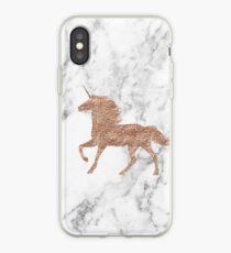 Rose gold marble unicorn iPhone Case