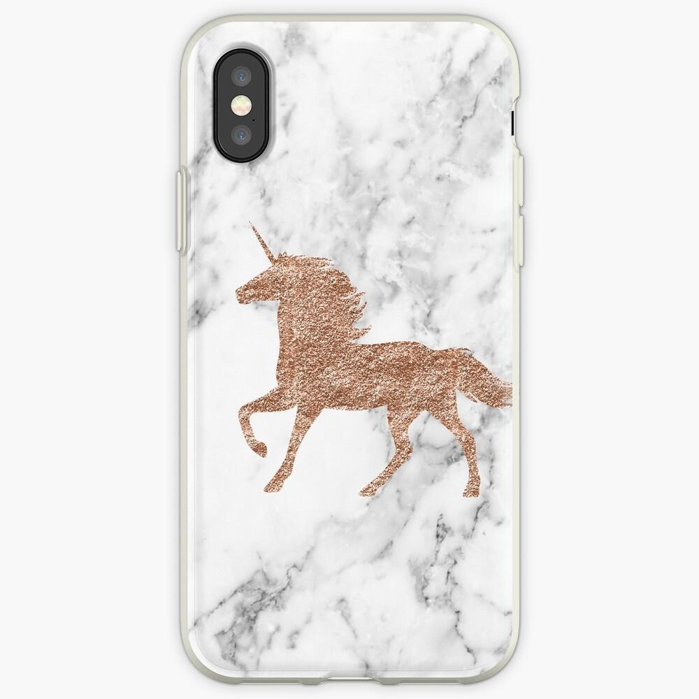 Unicornio de mármol de oro rosa Funda y vinilo para iPhone