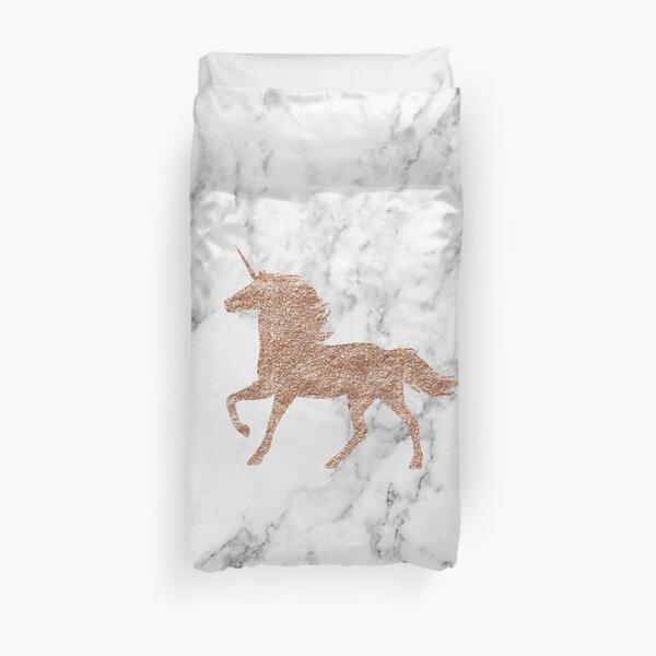 Rose gold marble unicorn Duvet Cover
