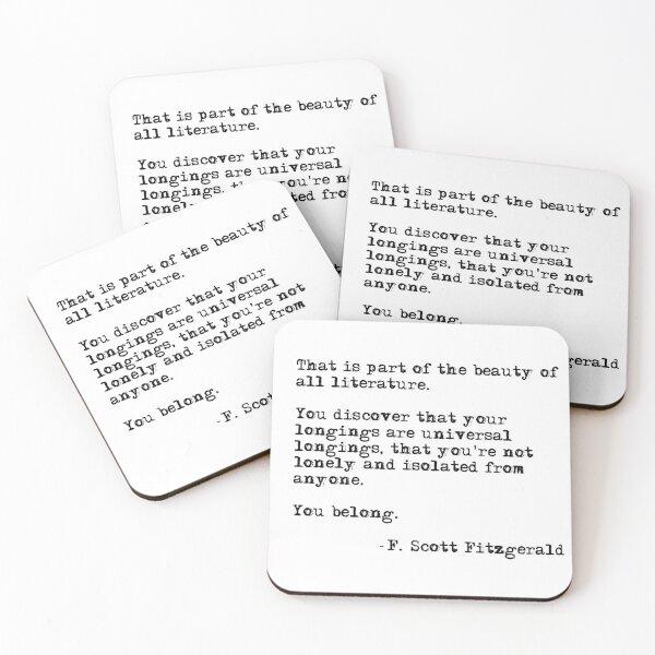 The beauty of all literature - F Scott Fitzgerald Coasters (Set of 4)