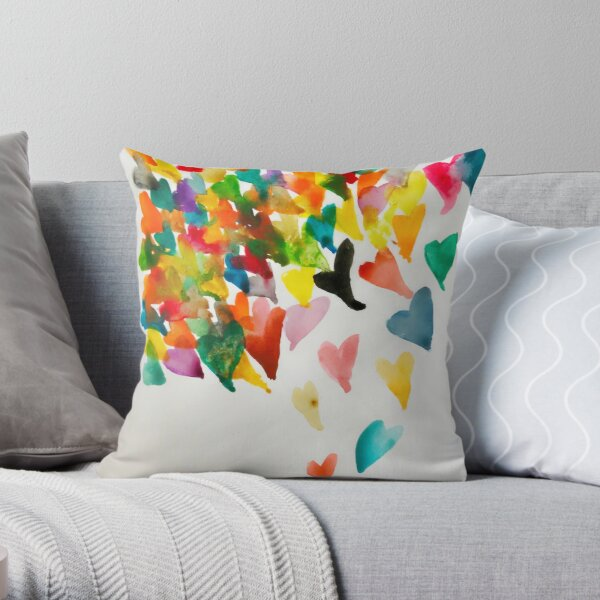 Raining Hearts Throw Pillow
