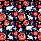 Seamless bright pattern of jumping hares  by Tanor