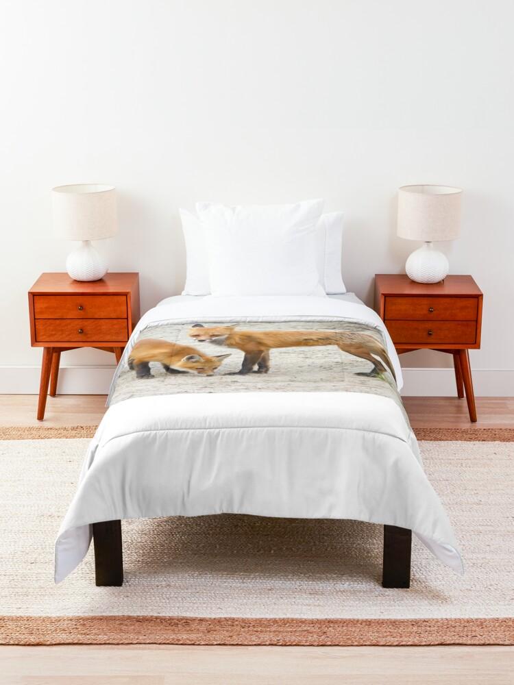 Alternate view of Red fox family Comforter