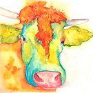 Susie, Watercolor Cow by Jeri Stunkard